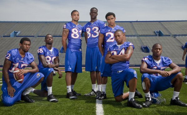 Kansas University receivers, from left, Christian Matthews, Erick McGriff, Johnathan Wilson, Chris Omigie, D.J. Beshears, Bradley McDougald and Daymond Patterson make up one of the team's deepest units.