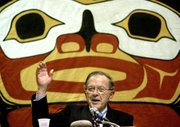 Then-Sen. Ted Stevens, R-Alaska, thanks the Alaska Native people after giving his congressional report to the Alaska Federation of Natives convention in Anchorage, Alaska, in this Oct. 28, 2004, file photo. Stevens, an uncompromising advocate for Alaska for four decades who delivered scores of expensive projects to one of the nation's most sparsely populated states, died in a plane crash Monday at the age of 86. Family spokesman Mitch Rose says Stevens was among the victims of a crash outside Dillingham, Alaska, about 325 miles southwest of Anchorage.