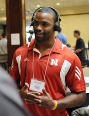 Nebraska wide receiver Niles Paul answers questions during a radio interview at Big 12 media days on July 26 in Irving, Texas.