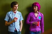 "Scott Pilgrim (Michael Cera) must defeat the seven evil ex-boyfriends of his new girlfriend (Mary Elizabeth Winstead) in order to win her heart in ""Scott Pilgrim vs. the World."""