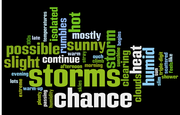 "This ""word cloud"" was created using the text of LJWorld.com forecasts from July 10 to Aug. 9. The words displayed are the ones used most often during that time period. Words shown in bigger text appeared more frequently than the words in smaller text. Storms and descriptions of the heat highlight the word cloud."