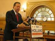 Democrat Tom Holland on Tuesday unveiled his agenda if elected governor. His goals focused on jobs, education, public safety, social services and government efficiency. He faces Republican U.S. Sen. Sam Brownback in the election. Holland, a state senator from Baldwin City, spoke at a news conference in the Statehouse. He also had events planned in Kansas City and Wichita.
