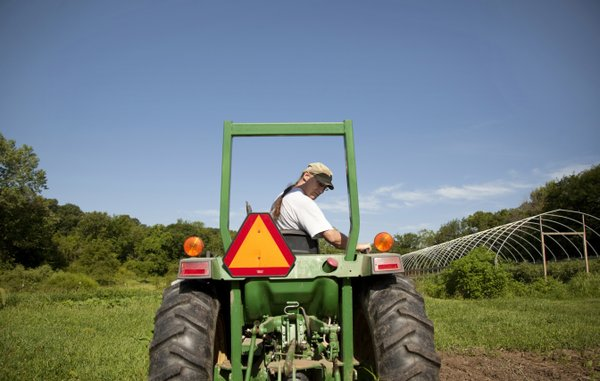 Oskaloosa's Stu Shafer looks back at his mower as he works on his farm in July. Shafer splits duties between the farm and Johnson County Community College, where he teaches classes in sociology and sustainable agriculture.