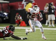 Kansas City running back Jamaal Charles (25) gets past Chauncey Davis last Friday in Atlanta. With the addition of Thomas Jones, it's unknown how much impact Charles will make with the Chiefs this year.