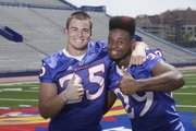 KU freshman running backs Brandon Bourbon, left, and James Sims are in the mix to earn playing time.