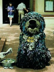 Puppeteer Bob Aiken performing as his creation, Bruiser the Dog.