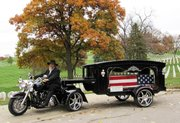 Several area companies rent Harley hearses for the funerals of motorcycle enthusiasts.