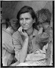 """Destitute peapickers in California; a 32-year-old mother of seven children, February 1936"" also known as the ""Migrant Mother,"" was taken by famed photographer Dorothea Lange during the Great Depression. The photograph features Florence Owens Thompson and her children in Nipomo, Calif."