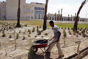 A landscaper works on the grounds of a children's hospital earlier this month in Basra, Iraq's second-largest city, 340 miles southeast of Baghdad. The $165 million hospital has yet to open because of problems connecting to the electricity grid. This site is among hundreds of projects funded by U.S. taxpayers that remain abandoned or incomplete, wasting more than $5 billion, according to auditors.