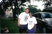 Steven Johnson, right, with former Philadelphia Eagles running back Duce Staley.