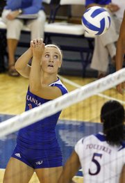 Kansas freshman Brianne Riley sends the ball over Friday, Sept. 3, 2010, first game action of the Jayhawk Classic at Horejsi Family Athletics Center.