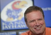 KU men's basketball coach Bill Self responds to questions during a press conference where Sean Lester, an associate athletics director, was introduced Tuesday as the interim athletics director at KU. In a statement on the Kansas University website Tuesday, Chancellor Bernadette Gray-Little and Athletic Director Lew Perkins announced that Perkins will retire, effective immediately.