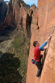 "Photo still from the film, ""First Ascent: Alone on the Wall,"" playing during the Banff Mountain Film Festival."