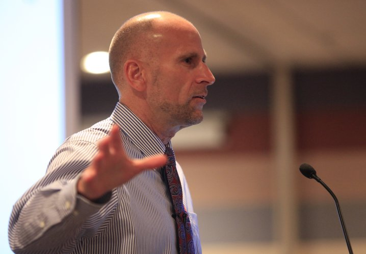 """David Litts, director of Science and Policy at the national Suicide Prevention Resource Center, gives a presentation """"Preventing the Suicide of Someone You Know, Someone You Love,"""" Wednesday, Sept. 8, 2010, at Lawrence Memorial Hospital."""