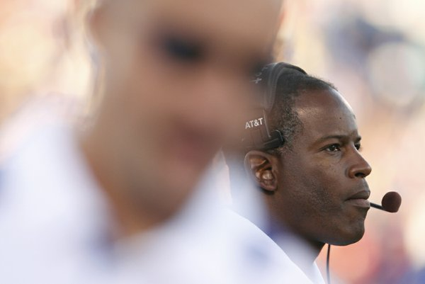 Kansas head coach Turner Gill watches from the sidelines during the second quarter against North Dakota State. Gill's first game as the Jayhawks' head coach proved to be a tough outing as they fell to the Bison 6-3.