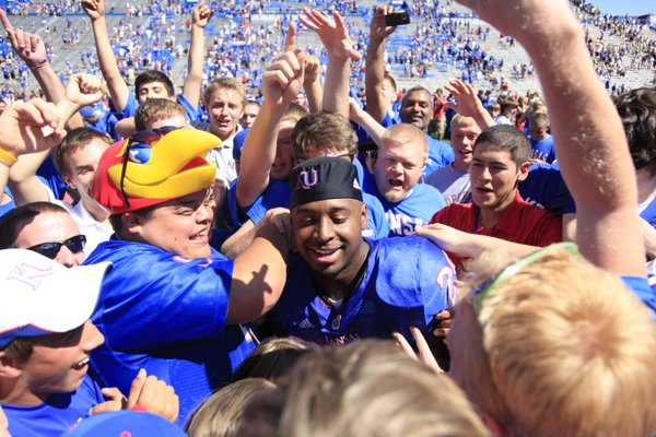 James Sims was a popular attraction for fans after the Jayhawks' victory Saturday.