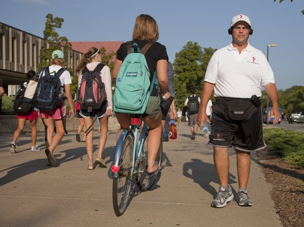 Stanley Bronstein, 51, of Scottsdale, Ariz., walks around the KU campus Monday, Sept. 13, 2010, as part of a national tour to raise awareness about the importance of exercise. He tries to visit college towns, so he can reach out to students.