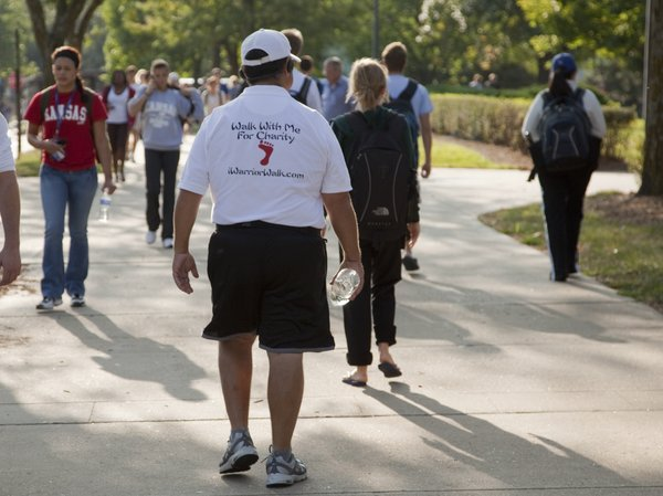 "Stanley Bronstein, 51, aka the ""Warrior Walker"", walks around the KU campus Monday, Sept. 13, 2010."