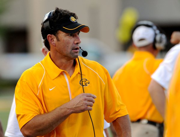 Southern Miss coach Larry Fedora looks at a play against Prairie View in Hattiesburg, Miss., in this 2010 file photo.