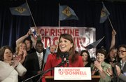 Republican Senate candidate Christine O'Donnell addresses supporters Tuesday after winning the Republican nomination for Senate in Dover, Del. O'Donnell upset nine-term U.S. Rep. Mike Castle.