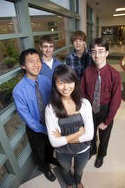 Lawrence High School National Merit semifinalists are clockwise from front, Jenny Xu, Jason Chang, Orion Dollar, Joseph Matthews and Daniel Knight.
