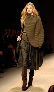 A model wears a creation by Salvatore Ferragamo during the women's 2010 Fall-Winter fashion week, in Milan, Italy.