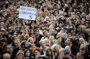 Demonstrators gather to protest against the far-right Sweden Democrats on Monday in central Stockholm, Sweden. Thousands of demonstrators rallied against the party on Monday, after the party garnered nearly 6 percent of the vote in Sunday's election, securing 20 seats in parliament.