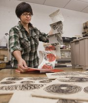 Print-maker Nicolette Ross is one of two new Lawrence Arts Center artists-in-residence this year. Ross hopes that while teaching classes about the old art form at the center, she'll inspire new print-makers.