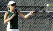 Free State freshman Alexis Czapinski hits a forehand in one of her three doubles victories in a quad Wednesday at FSHS.