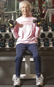 Mike Yoder/Journal-World Photo.Dorothy McGregor, 91, works out every day at the Lawrence Athletic Center.