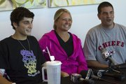 From left, Trevor Roberts, Lisa Humerickhouse and Jerrad Humerickhouse talk with the media during a press conference Wednesday, Oct. 6, 2010 at KU Hospital. The 17-year-old McLouth High senior football player lost part of his left leg after suffering a compound fracture during a game on Sept. 24. The leg subsequently contracted gangrene.