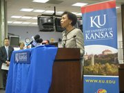 KU Chancellor Bernadette Gray-Little on Tuesday announces $22 million grant to develop new assessment system for special education.