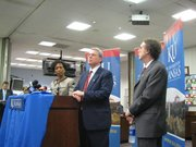 KU Chancellor Bernadette Gray-Little; Neal Kingston, director of KU's Center for Educational Testing and Evaluation; and Rick Ginsberg, dean of KU's School of Education, are shown in this October 2010 file photo at the State Board of Education in Topeka.