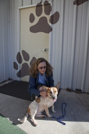 Trainer Jeanette Wisdom also works with another dog, Simon, a nine-month old red heeler, at the Lawrence Humane Society.