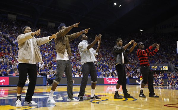 From left, Niko Roberts, Justin Wesley, Tyshawn Taylor, Royce Woolridge and Josh Selby do a dance to New Edition during Late Night in the Phog, Friday, Oct. 15, 2010.