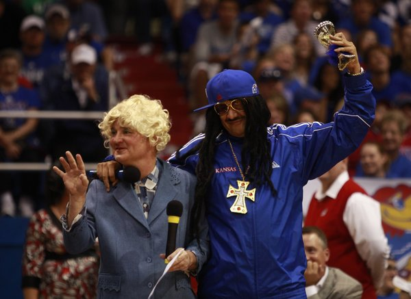 Director of basketball operations, Betty White, played by Barry Hinson, and assistant coach Lil Jon, Kurtis Townsend introduce the skits during Late Night in the Phog, Friday, Oct. 15, 2010.