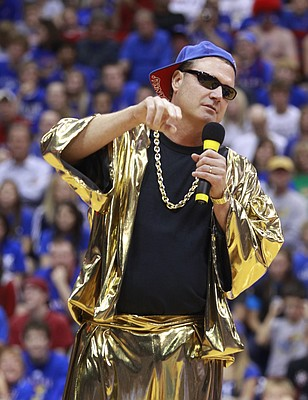 Vanilla Ice, played by Kansas head coach Bill Self, introduces a skit during Late Night in the Phog, Friday, Oct. 15, 2010.