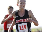 Lawrence junior Nathan Stringer (119) Saturday, Oct. 16, 2010, at Sunflower League cross country at Rim Rock.
