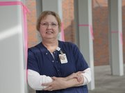 Judy Hollingshead,  a registered nurse in the surgery department at Lawrence Memorial Hospital, is a two-time cancer survivor. Hollingshead has been a volunteer for Stepping Out Against Breast Cancer almost every year since it started.