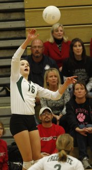 Free State's Shelby Holmes (16) makes a return against Blue Valley West.
