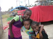 Eyerusalem Zicker is pictured with two girls from who are living in the home for children with HIV in Ethiopia.