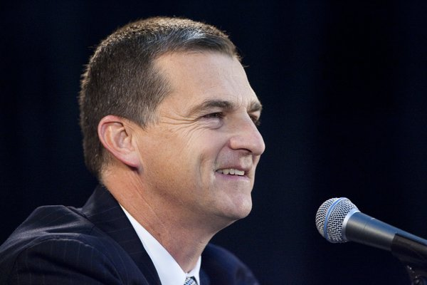 Texas A&M coach Mark Turgeon talks to reporters Thursday at the 2010 Big 12 Media Days at Sprint Center in Kansas City, Mo.
