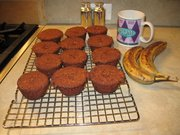 A photo of a batch of banana muffins made by Linda Martin.