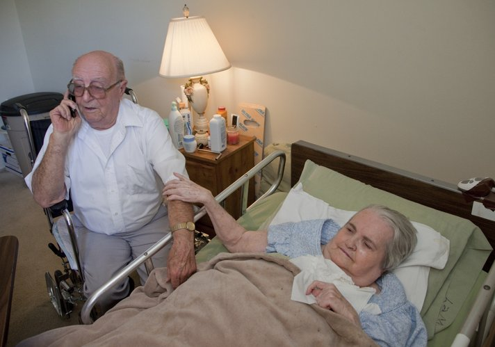 """Foster """"Bud"""" Laming has been taking care of his wife, Gloria, since she suffered a stroke about eight years ago. The Lawrence couple have been married 59 years."""