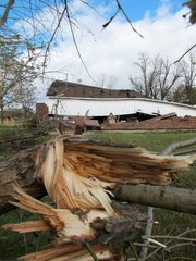 Damaged tree limbs can be seen near a barn that was lifted off its foundation by a tornado Tuesday in Mount Pleasant, Wis. Wisconsin was one of 11 states in the Midwest that was under a high wind warning Tuesday when a strong storm system moved through.