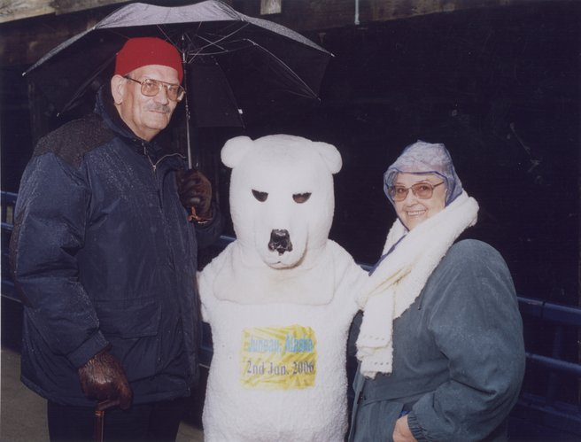 Everett and Freda Hickam, Lawrence, are welcomed to Juneau, Alaska, during a vacation in 2006. The two took a three-week vacation visiting the northwestern states and Canada.