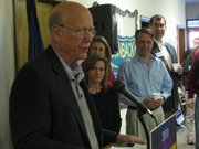 U.S. Sen. Pat Roberts, R-Kan., speaks Thursday to Republicans as the 4-day bus tour started on its second day.