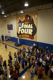 Tours were conducted of the athletic facilities connected to Allen Fieldhouse, including the basketball practice gym on Thursday during Ladies' Night Out with Bill Self.