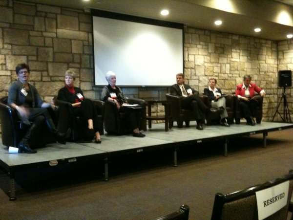 Serving on the panel are, from left, Marcia Nielsen, of Kansas University Medical Center; Dr. Jennifer Brull; Kansas Insurance Commissioner Sandy Praeger; Andy Allison, of Kansas Health Policy Authority; Susan Sherry, of Community Catalyst; and Sharon Homan, of Kansas Health Institute.