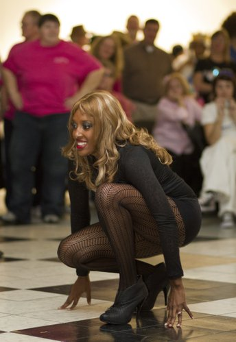 Eboni Pearce, Lawrence, dressed as Beyonce, performs during a skit put on by the LMH emergency room staff.